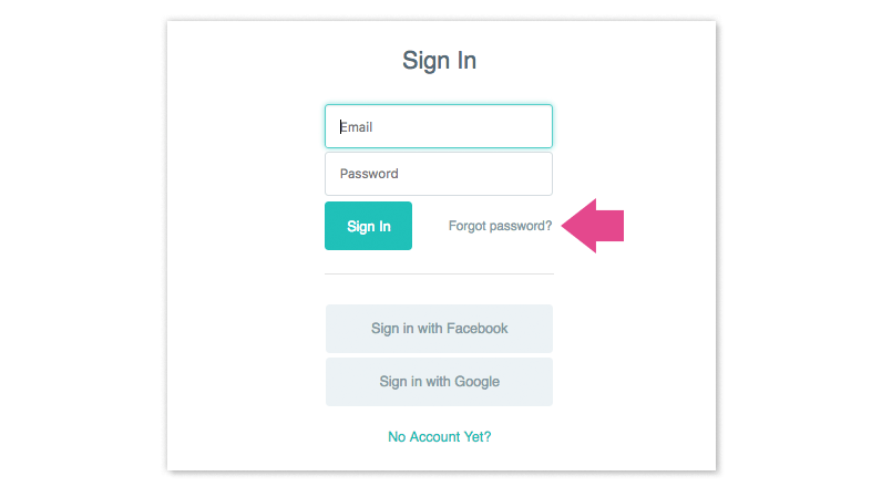 A login screen that shows a link to reset a password.