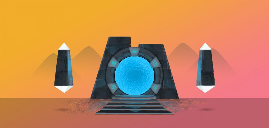 An ancient portal on a desert landscape.