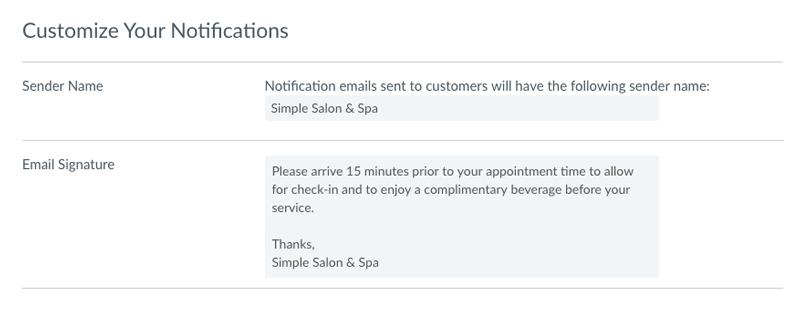The Email Customization menu.