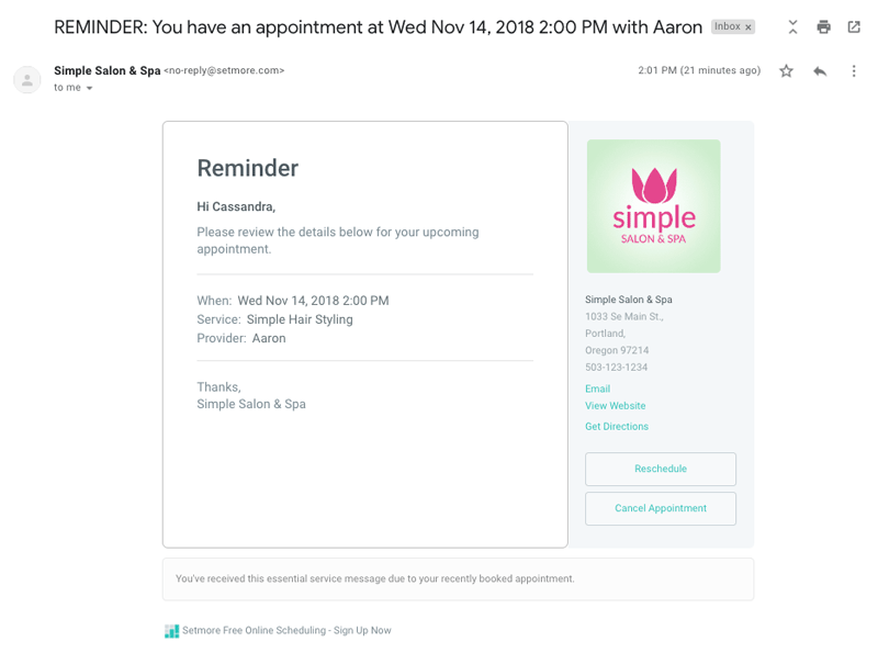 Using Automated Emails And Reminders Setmore Blog Setmore