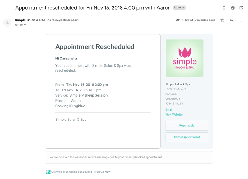 An Appointment Rescheduled email template.