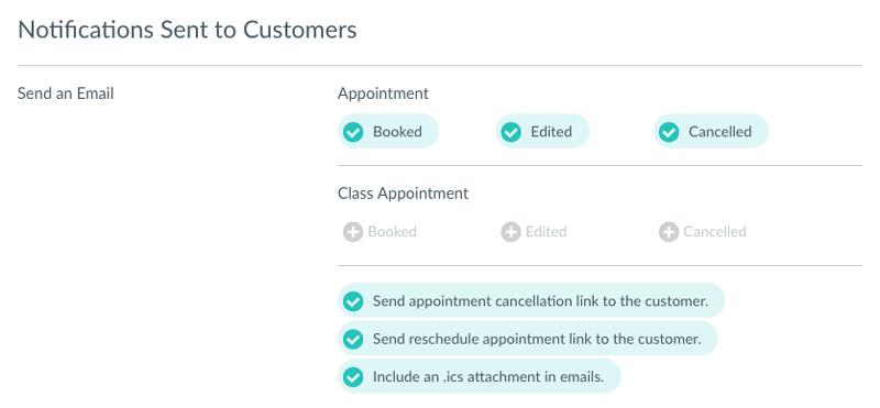 The Customer Notifications menu.