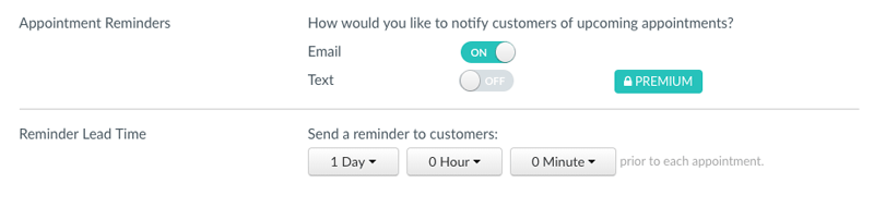 The Appointment Reminders and Reminder Lead Time menu.