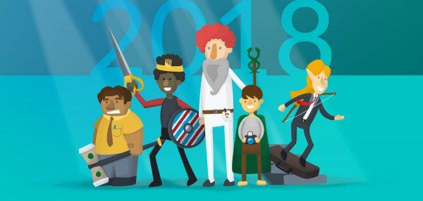 Heroes standing from left to right: a dwarf warrior, human swordsman, human wizard, hobbit, and elven ranger.