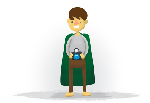 Foto Grammins, hobbit holding a camera.