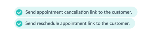 A set of checkboxes allowing a user to activate or de-activate reschedule and cancel links in Setmore emails.