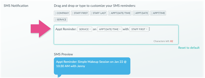 The Reminders Customization menu in Setmore.