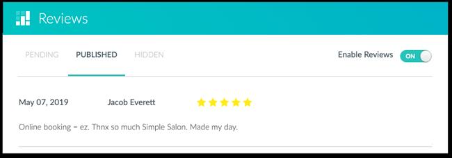 The Setmore review pane in-app.