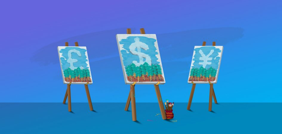 Art class showing paintings of trees and clouds in the shape of dollar signs.