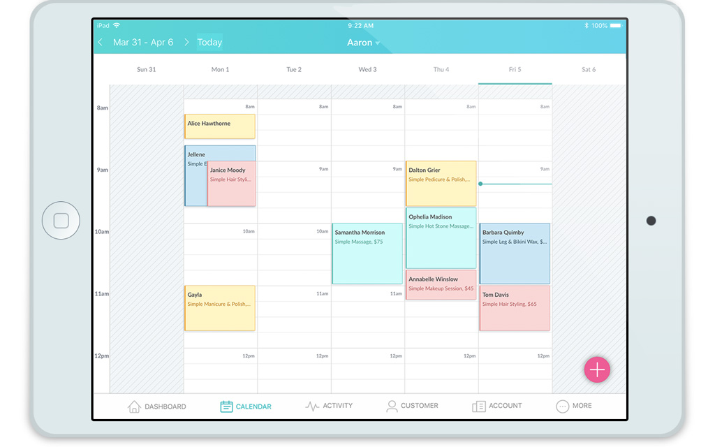 An iPad showing a Setmore calendar.