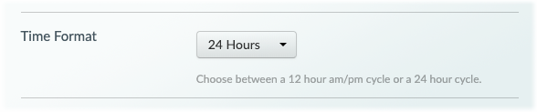 The 24-hour format dropdown menu.