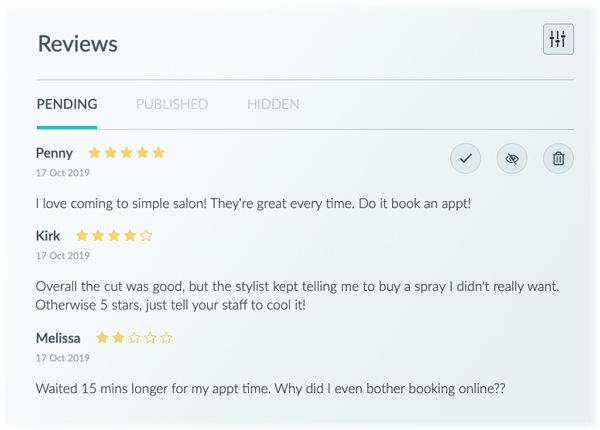 The Setmore Reviews panel, from the account holder's view.