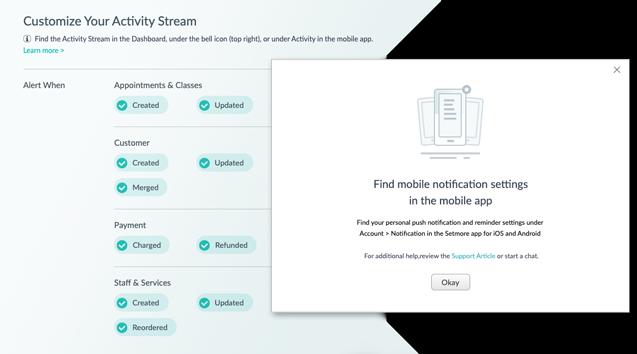 The Activity Stream menu.