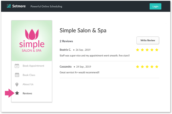 A sample booking page with the reviews.