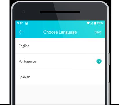choose language portuguese