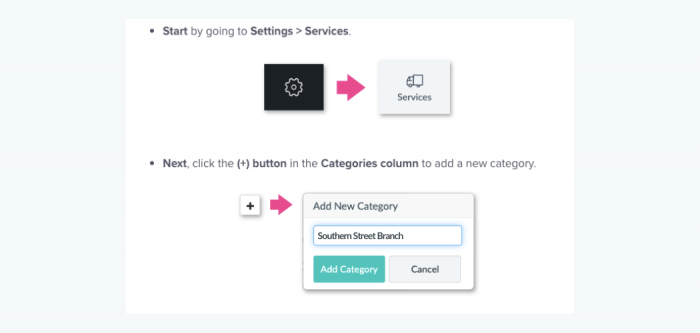 Instructions for setting up service categories on Setmore