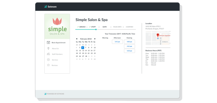 Setmore booking page screen for simple spa and salon