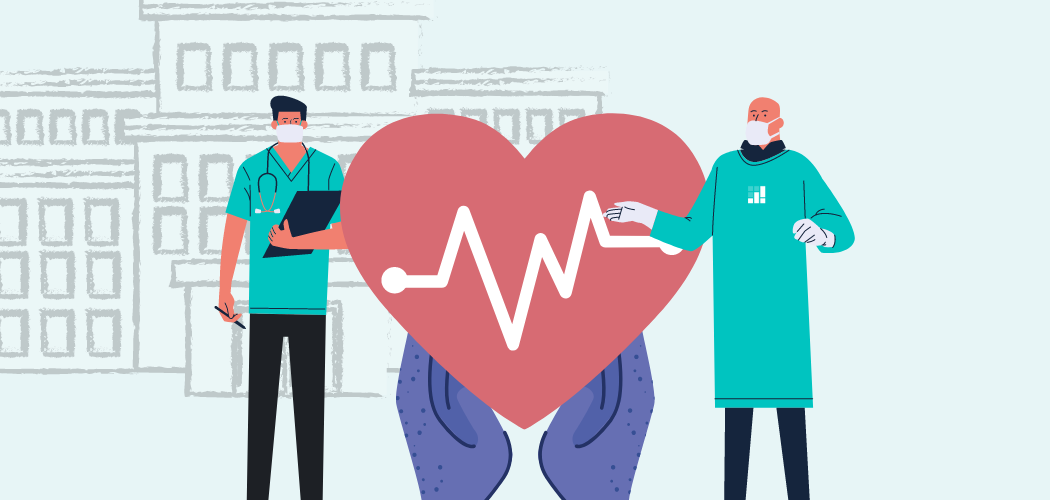 Illustrated image of two masked doctors standing near a heart