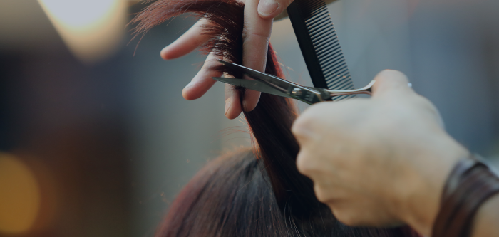 Up close photo of hands holding scissors in the left hand and a comb in the right ready to cut.