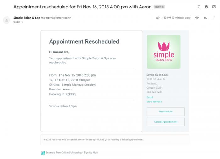 email reschedule