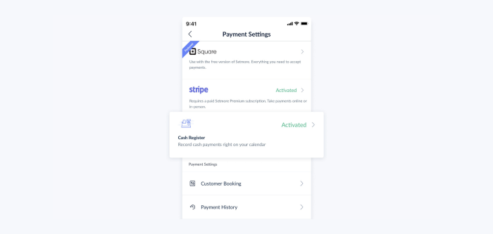 setmore mobile app with cash register screen