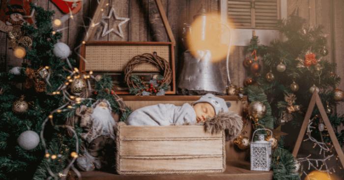 Seasonal photoshoot with Christmas decorations