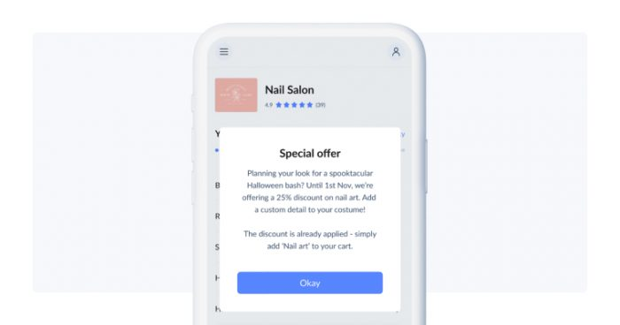 Special offer pop up displayed on phone screen