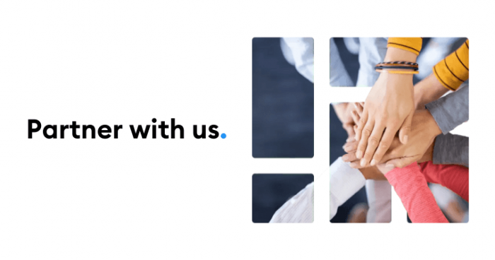 Hands with 'Partner with us' text