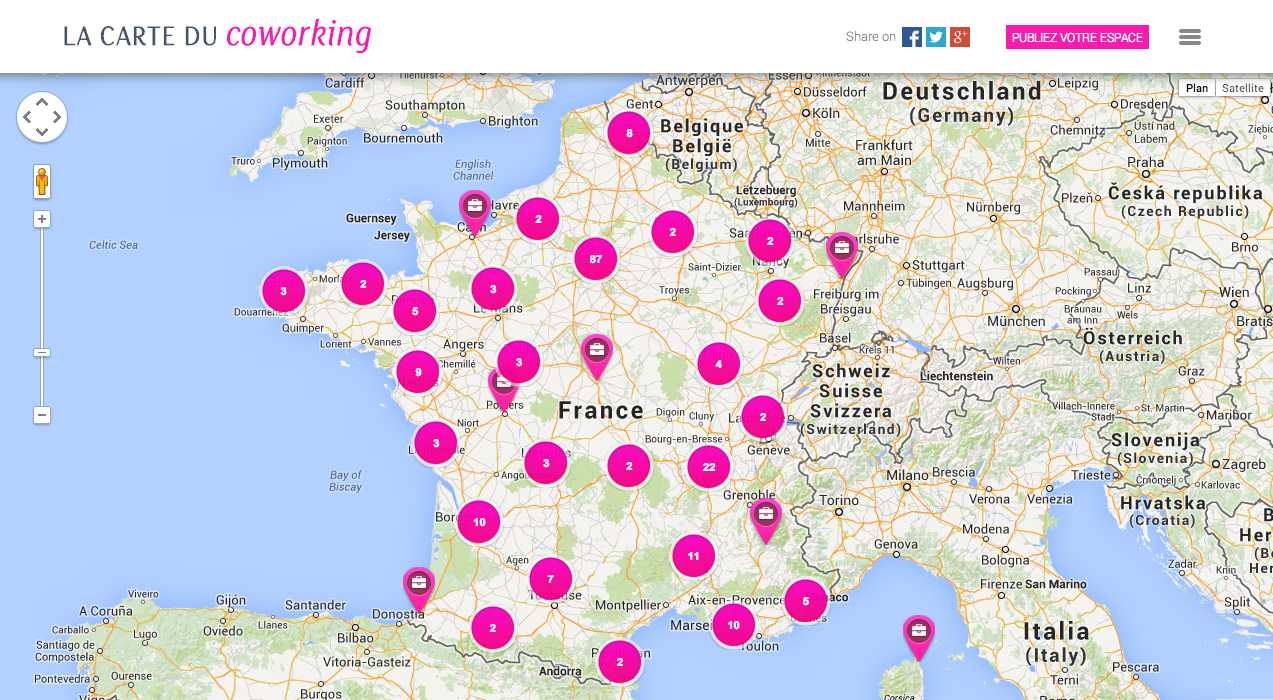 la carte du coworking en france bureaux partager le blog. Black Bedroom Furniture Sets. Home Design Ideas