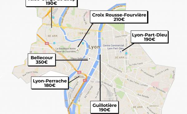 Quartier de Lyon illustré avec les prix