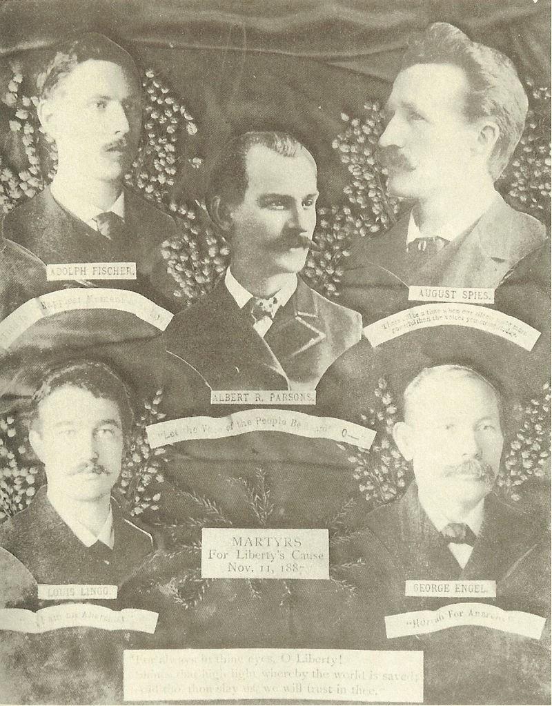 """Les 5 """"martyrs"""" de Haymarket Square. Juin 1886"""