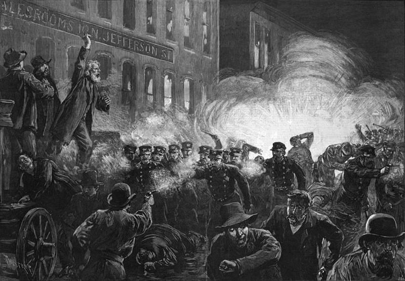 Haymarket Square, le 4 mai 1886—Gravure parue dans Harper's Weekly.