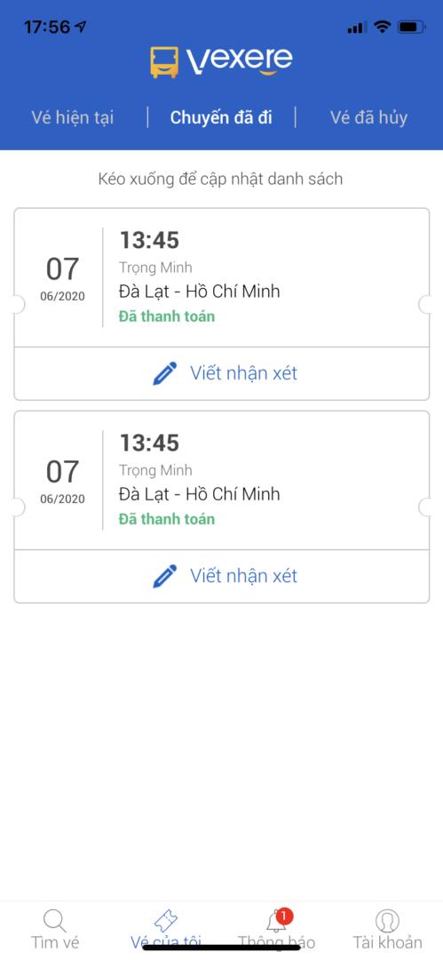 Đánh giá nhà xe thông qua app VeXeRe