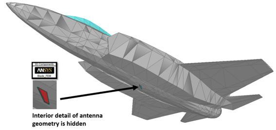 Detalhe interior da geometria de uma antena escondida