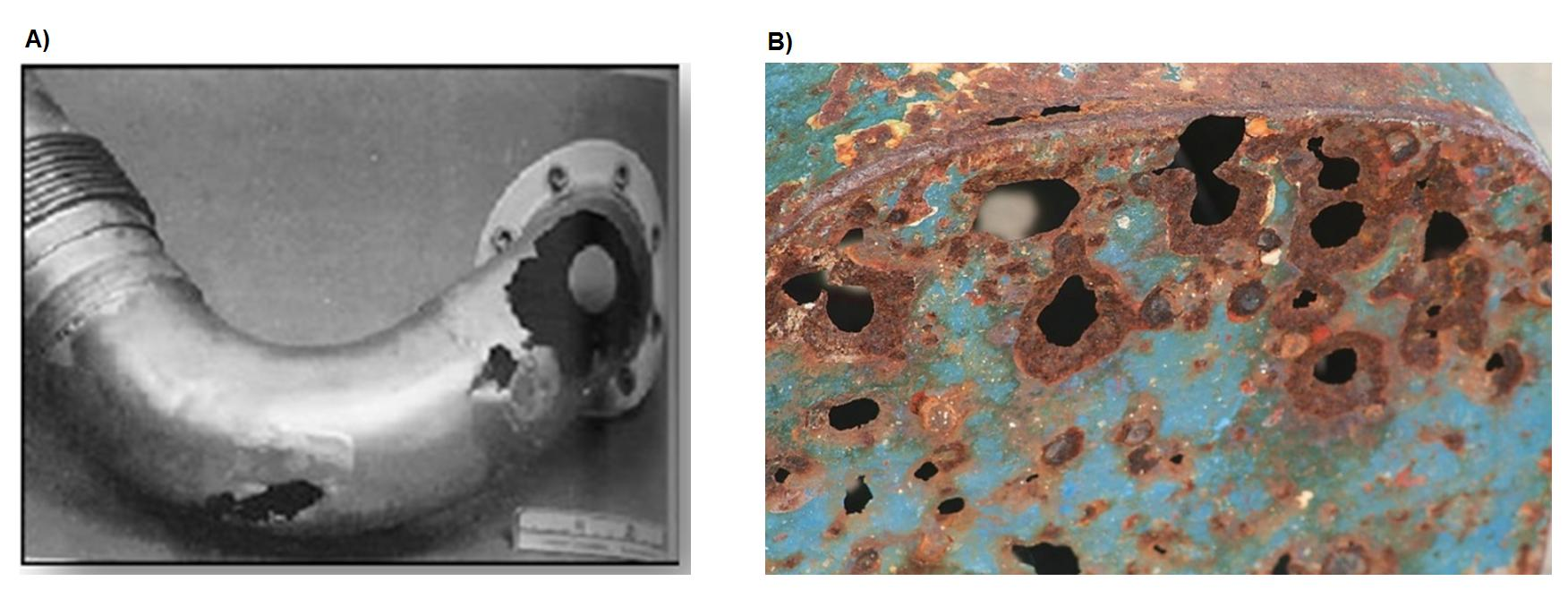 A) Exemplo de erosão por partículas em curva de tubulação | B) Exemplo de equipamento industrial com efeito de corrosão