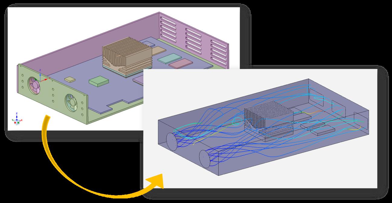 Linhas de correntes (Streamlines) em uma simulação no ANSYS AIM