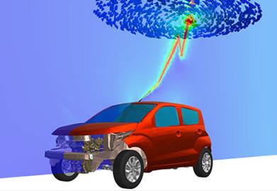 Simulação automóvel raio