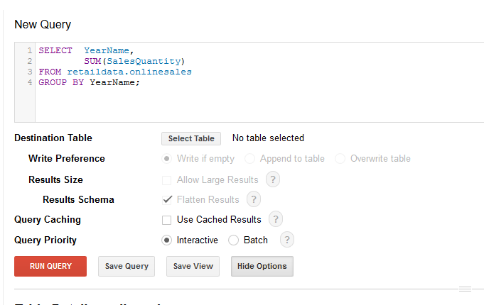 BigQuery Settings