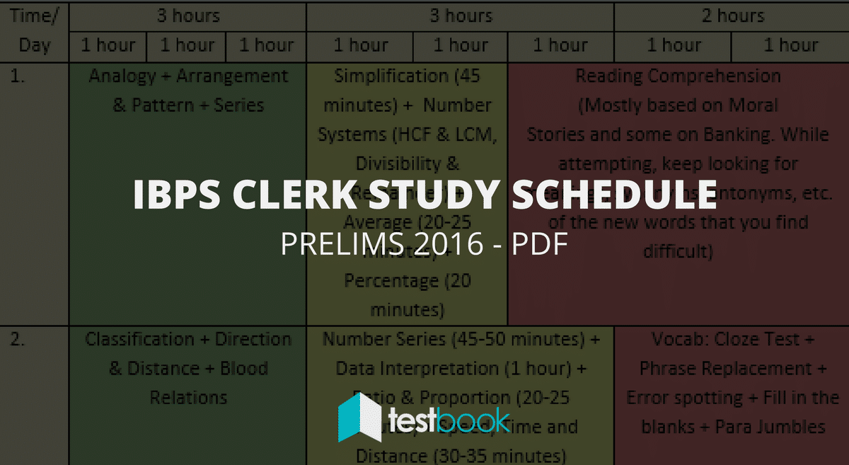 IBPS Clerk Study Schedule for Prelims Exam PDF