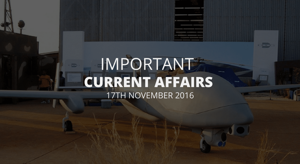 Important Current Affairs 17th November 2016 with PDF