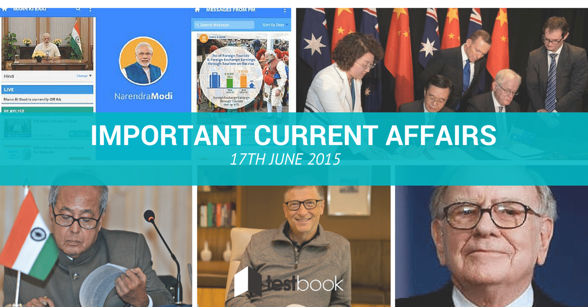 Important Current Affairs 17th June 2015