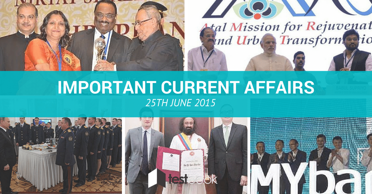 Important Current Affairs 25th June 2015