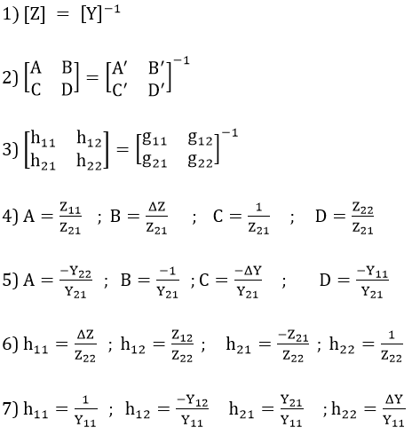 Conversion of Parameters in Two Port Networks