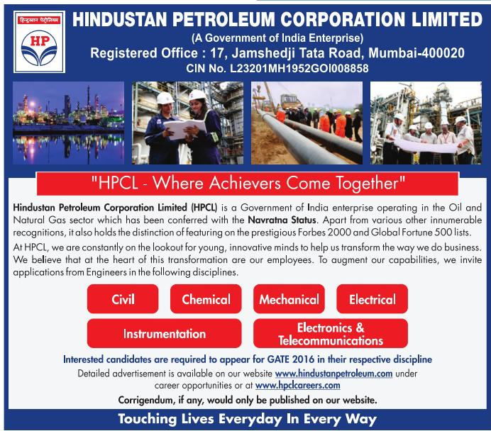 HPCL Recruitment Through GATE