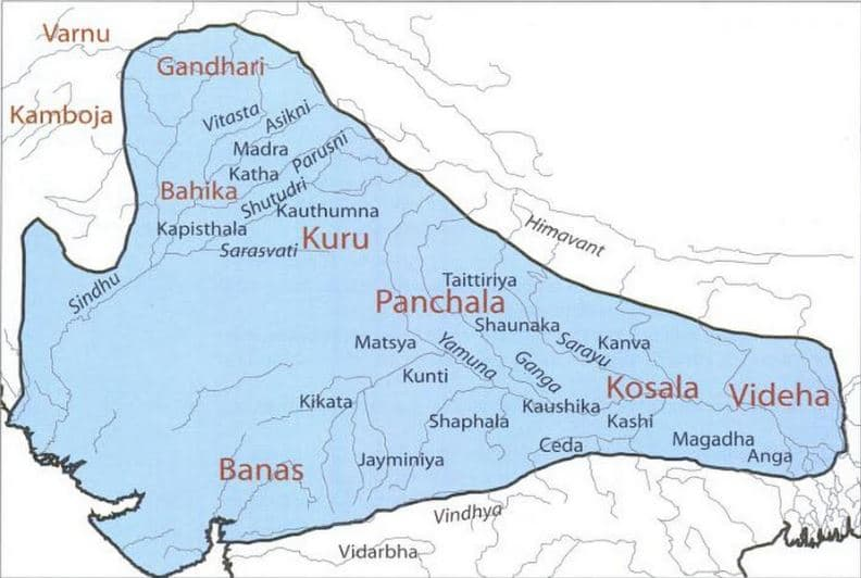 Map - the extent of the Vedic people in early and later Vedic period