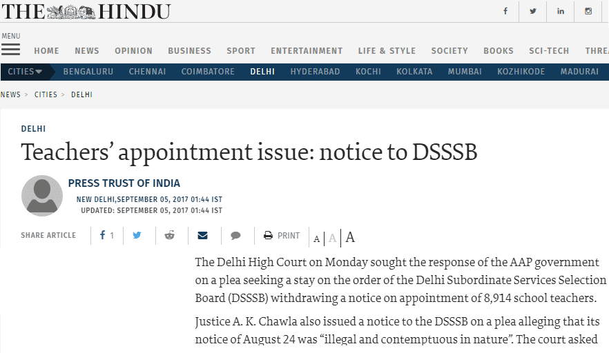 The Hindu DSSSB Update