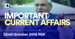 Current Affairs 22nd October 2018 - Testbook