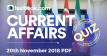 Current Affairs Quiz 20th November 2018 - Testbook