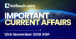Current Affairs 12th November 2018 - Testbook