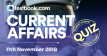 Current Affairs Quiz 11th November 2018 - Testbook